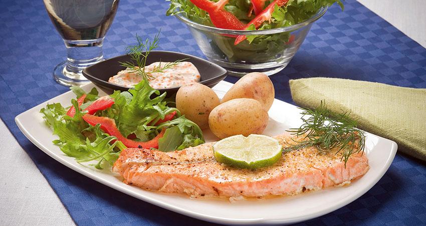 Fried salmon and potato