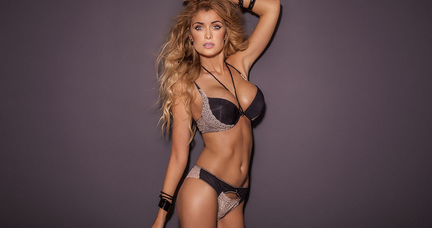 Sexy blonde woman posing in lingerie